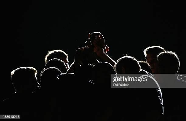 The Breakers group togeather before the round one NBL match between the New Zealand Breakers and the Wollongong Hawks at Vector Arena in October 10,...