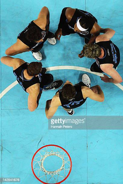 The Breakers huddle during game three of the NBL Finals series between the Townsville Crocodiles and the New Zealand Breakers at Vector Arena on...