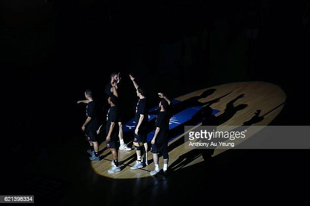 The Breakers with the pregame introduction during the round five NBL match between the New Zealand Breakers and the Brisbane Bullets at Vector Arena...