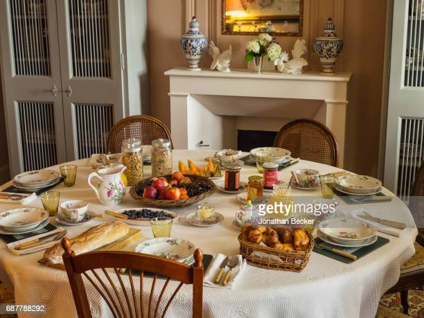 The breakfast table in a sitting room at Chateau dAutet is photographed for Vanity Fair Magazine on July 13, 2016 in Provence, France. PUBLISHED...
