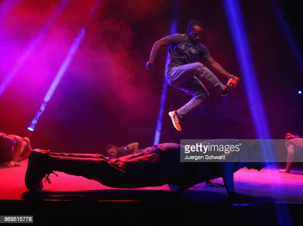 The Breakletics dance team perform during the presentation of the kit for German athletes competing in the upcoming Olympic Games 2018 in South Korea...