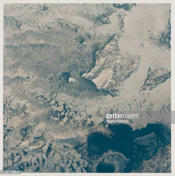 The breakup of winter ice packs around Shantar Island off the coast of Khabarovsk Kray Oblast, Commonwealth of Independent States as seen from the...