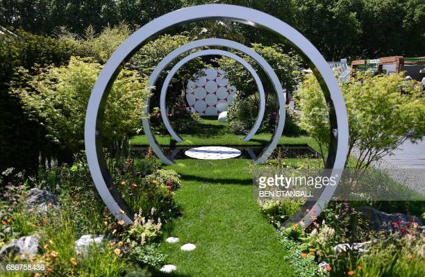 Through the microscope is seen at the 2017 Chelsea Flower Show in London on May 22 2017 The Chelsea flower show held annually in the grounds of the...