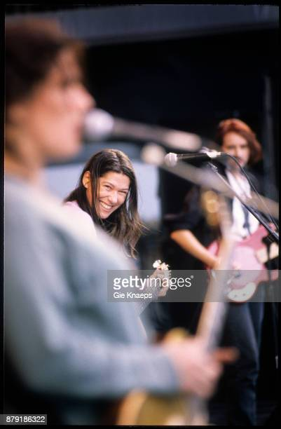 The Breeders Kim Deal Kelley Deal Josephine Wiggs performing on stage Pukkelpop Festival Hasselt Belgium 28th August 1993