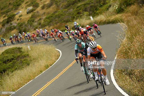The brekaway leads the peloton along the Coast Highway during the sage two team time trial of the Amgen Breakaway from Heart Disease Women's Race on...