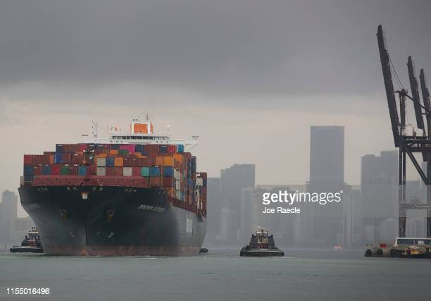 The Bremen Express cargo ship prepares to dock at PortMiami which saw China as its top trading country in 2018 as trade tension continues between the...