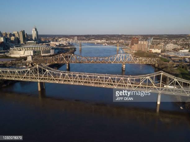 The Brent Spence Bridge spans the Ohio River on the Ohio-Kentucky border in Cincinnati, Ohio on April 2, 2021. - US President Biden has announced an...