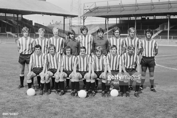 The Brentford F.C. Team, UK, 1st September 1971. From left to right, N. Saywood, Paul Bence, Alan Nelmes, Gordon Phillips, John O'Mara, D. Collyer,...