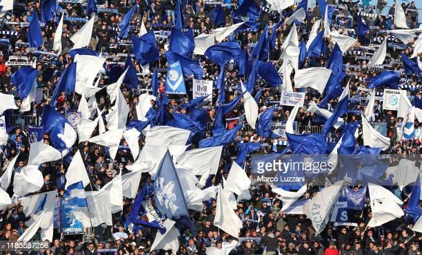 The Brescia Calcio fans show their support before the Serie A match between Brescia Calcio and Atalanta BC at Stadio Mario Rigamonti on November 30...