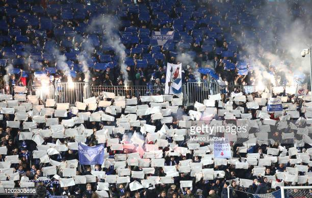 The Brescia Calcio fans show their support before the Serie A match between Brescia Calcio and SSC Napoli at Stadio Mario Rigamonti on February 21...