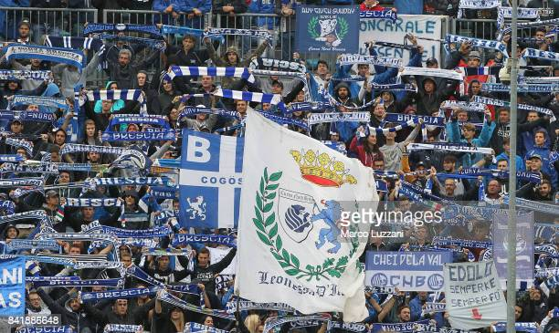 The Brescia Calcio fans show their support during the Serie B between Brescia Calcio and US Citta di Palermo at Stadio Mario Rigamonti on September 2...