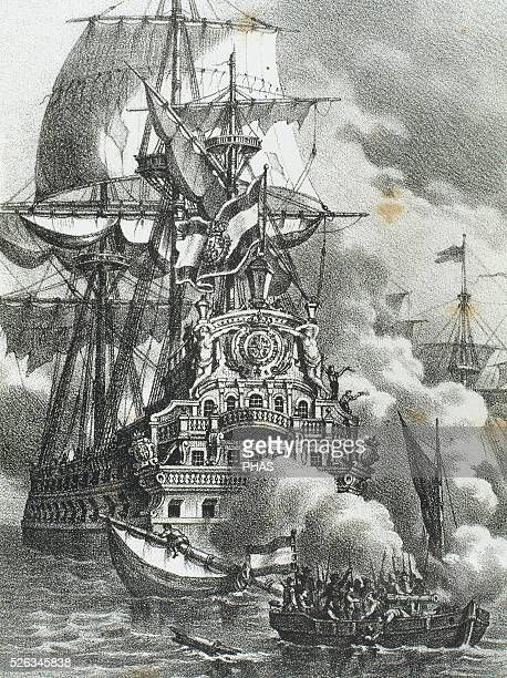 The Brethren or Brethren of the Coast attacking three Spanish galleons They were a coalition of pirates and privateers known as buccaneers and active...
