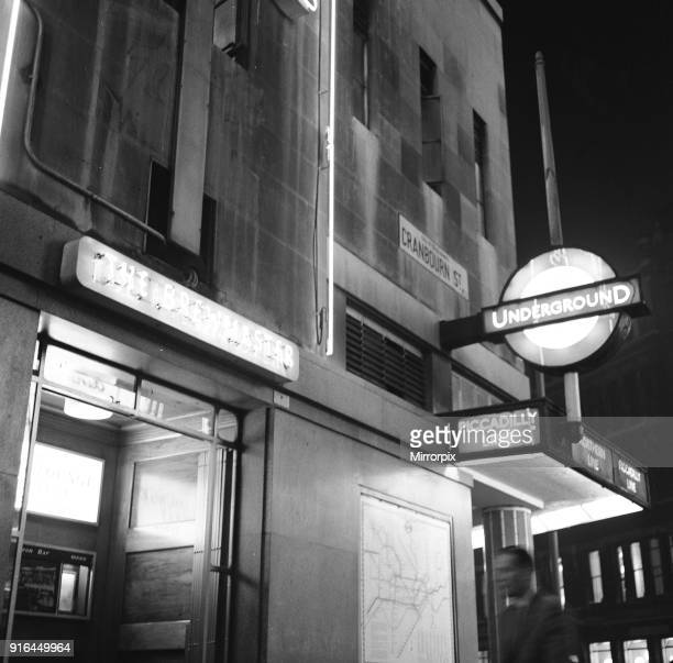 The Brewmaster pub and Leicester Square tube station on the corner of Cranbourn Street 22nd September 1961