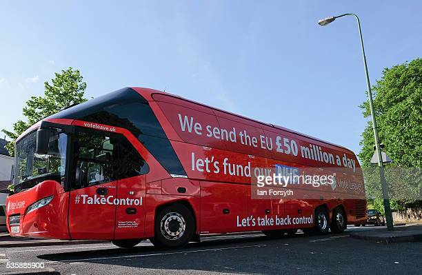 The Brexit battle bus arrives at ChesterLeStreet Cricket Club ahead of a visit by Boris Johnson MP and former England test cricketer Sir Ian Botham...