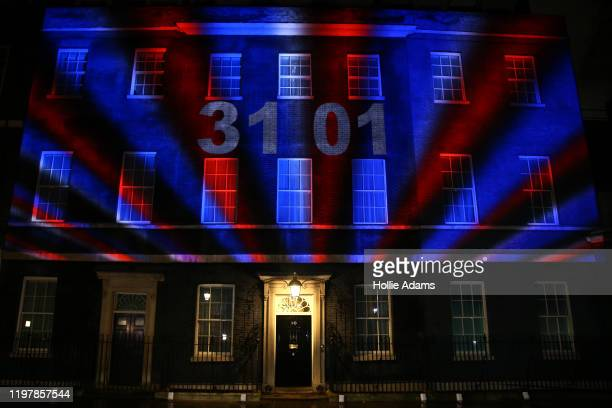 The Brexit countdown clock is projected onto Number 10 Downing Street on January 31, 2020 in London, United Kingdom. At 11.00pm on Friday 31st...