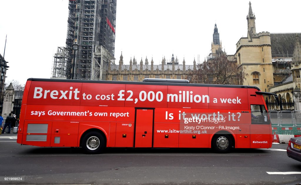 The Brexit 'Facts Bus' in Parliament Square, London, before it starts a national 8 day tour.