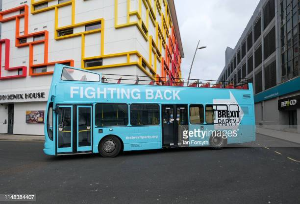 The Brexit Party campaign bus is parked in the town centre during a campaign visit on May 11 2019 in Sunderland United Kingdom The 2019 European...