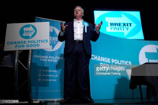 The Brexit Party's Peterborough constituency byelection candidate Mike Greene addresses supporters during a rally at The Broadway Theatre on June 01...