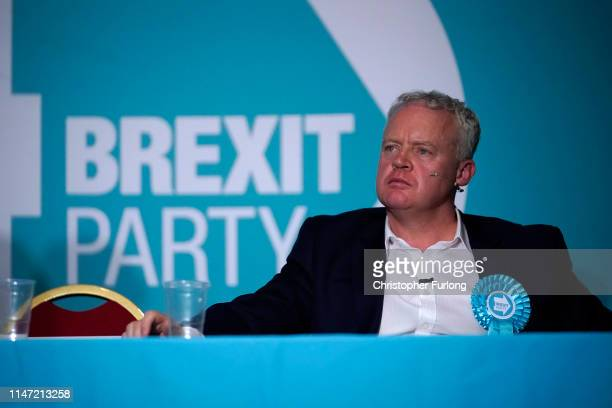 The Brexit Party's Peterborough constituency byelection candidate Mike Greene attends during a rally at The Broadway Theatre on June 01 2019 in...