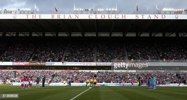 The Brian Clough stands in the distance during the minutes silence during the CocaCola Championship match between Nottingham Forest and West Ham...