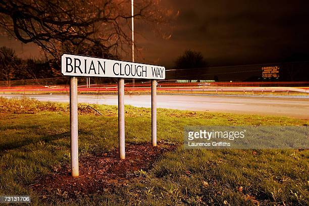 The Brian Clough Way signpost stands on the road that links Nottingham to Derby following the FA Cup sponsored by EON Fourth Round match between...