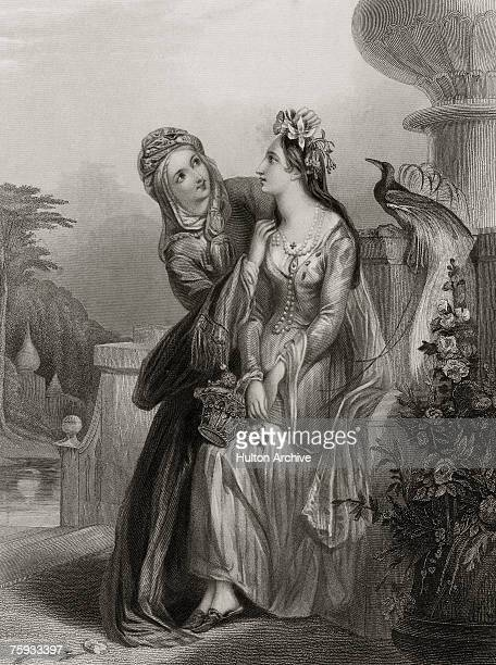 'The Bridal Morn' an exotic depiction of a young bridetobe attended by a lady in waiting on the morning of her wedding day circa 1840 Engraving by H...