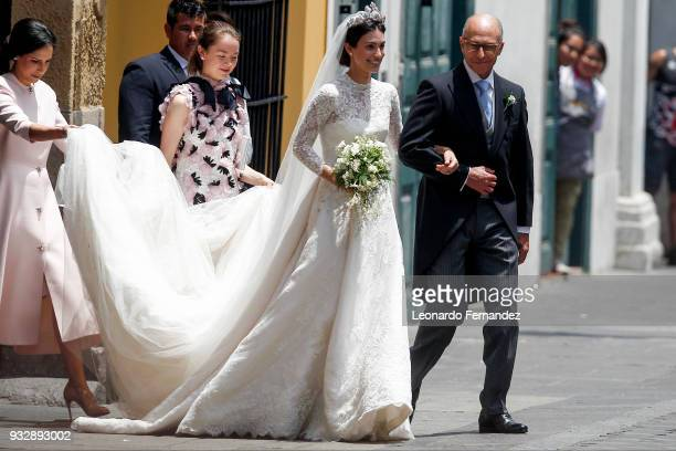The bride Alessandra de Osma and arrives with her father Felipe de Osma Berckemeyer to her wedding with Prince Christian of Hanover at Basilica San...
