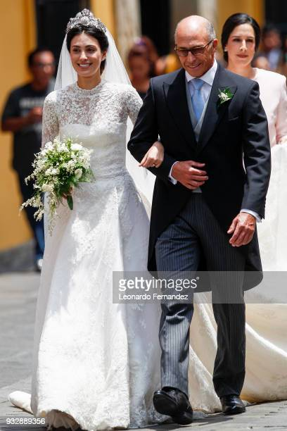 The bride Alessandra de Osma and her father Felipe de Osma Berckemeyer during the wedding of Prince Christian of Hanover and Alessandra de Osma at...