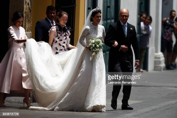 The bride Alessandra de Osma arrives with her father Felipe de Osma Berckemeyer to her the wedding with Prince Christian of Hanover at Basilica San...