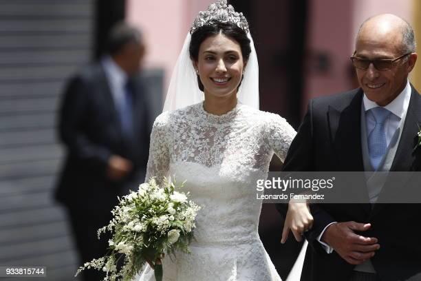 The bride Alessandra de Osma arrives with her father Felipe de Osma Berckemeyer to her wedding with Prince Christian of Hanover at Basilica San Pedro...