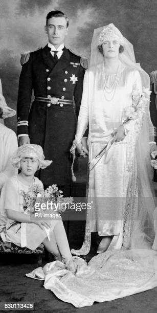 The Bride and Bridegroom at Lord Louis Mountbatten's wedding to Edwina Ashley at brook House London