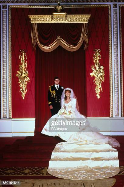 The Bride and Groom after the wedding ceremony at Buckingham Palace London Prince Andrew married Miss Sarah Ferguson at Westminster Abbey The Queen...
