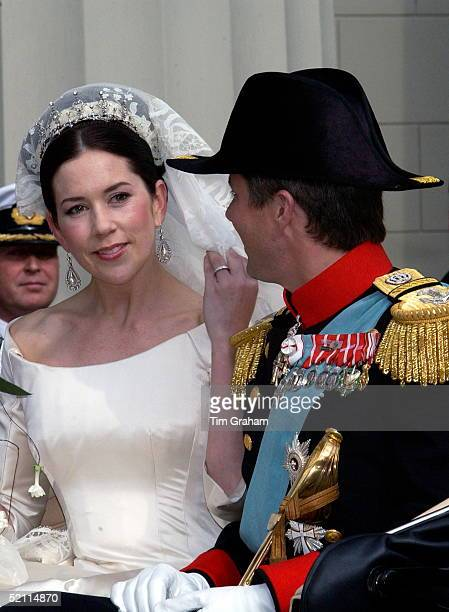 The Bride And Groom Crown Prince Frederik Of Denmark And The Crown Princess After Their Wedding In Copenhagen Cathedral