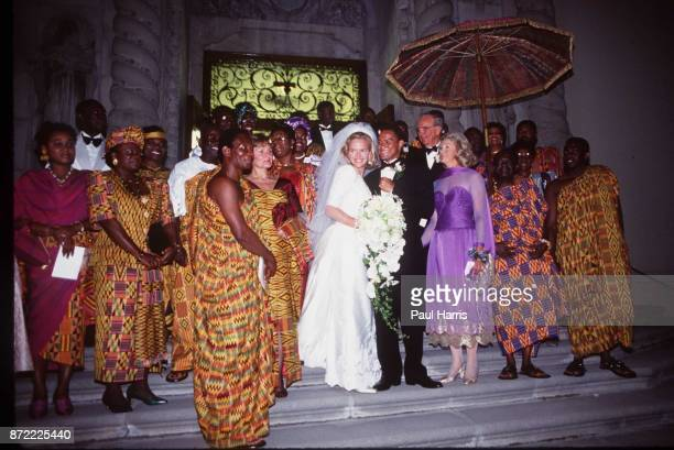 The Bride and Grooms parents and guests at the wedding of Elisabeth Murdoch daughter of Rupert Murdoch and Elkin Pianim the son of a Ghanaian...