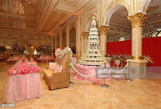 RATES The bride and groom's place settings in front of the cake for the wedding of Ivana Trump and Rossano Rubicondi at the MaraLago Club on April 12...