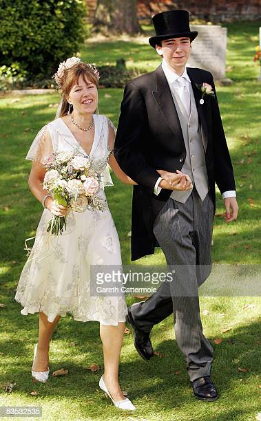 The bride Christabel McEwen and son Jack Lampton arrive at St James's Church on August 30 2005 in Cooling England The Archbishop Of Canterbury Dr...