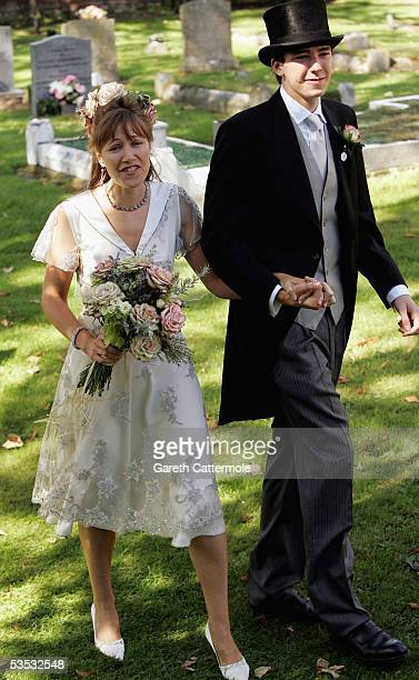 The bride Christabel McEwen and son Jack Lampton arrives at St James's Church Cooling on August 30 2005 in Kent England The Archbishop Of Canterbury...