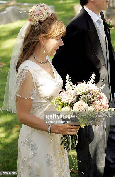 The Bride Christabel McEwen is seen at her wedding to Jools Holland at St James's Church on August 30 2005 in Cooling England The Archbishop Of...
