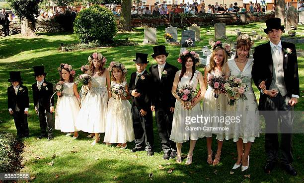 The Bride Christabel McEwen wtih children Mabel Holland and Jack Lampton with brides maids arrives at St James's Church on August 30 2005 in Cooling...