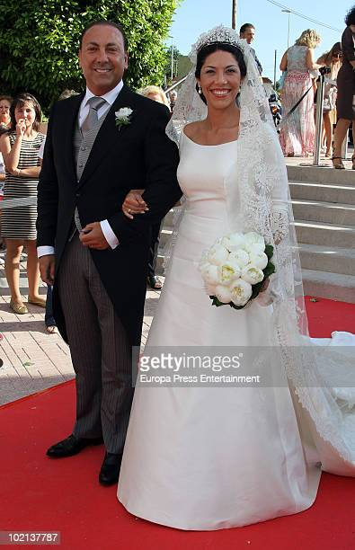 The bride Cristina Babiloni and her uncle Raul Babiloni at the wedding of her and Manuel Colonques, son of the president of Porcelanosa company on...