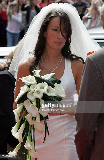 The Bride Emma Hadfield arrives at Manchester Cathedral for her wedding to Manchester United and England footballer Gary Neville on June 16 2007 in...