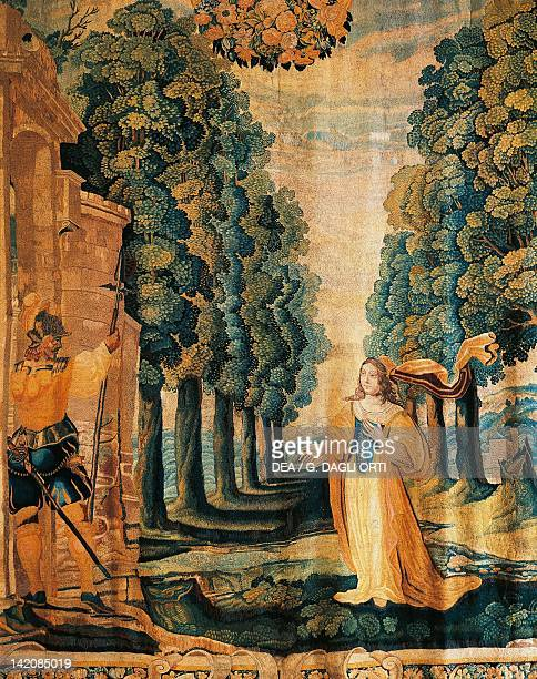 The Bride Entering the Garden with her Lover detail of a 17th century tapestry from the Treasure of Reims Cathedral kept in the Room of the Song of...
