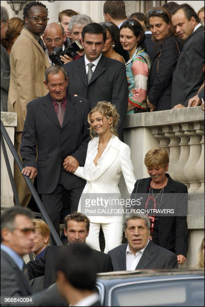 The bride Flavie Flament with her parents Benjamin and his father JeanPierre Castaldi