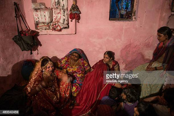 The bride makes last preparation for her wedding ceremony in the outskirts of New Delhi India on March 13 2014 Usually around 500 to 1000 guests...