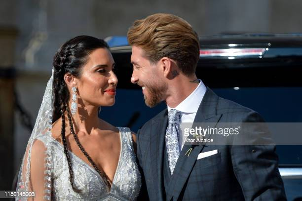 The bride Pilar Rubio and Sergio Ramos pose after their wedding at Seville's Cathedral on June 15 2019 in Seville Spain