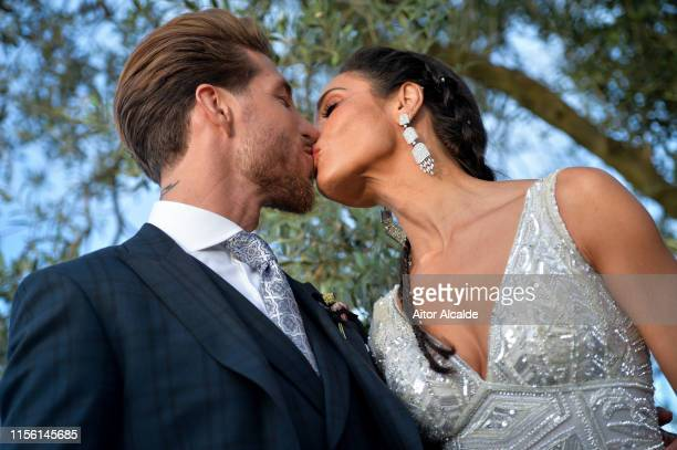 The bride Pilar Rubio and the groom Sergio Ramos pose before the wedding party on June 15 2019 in Seville Spain