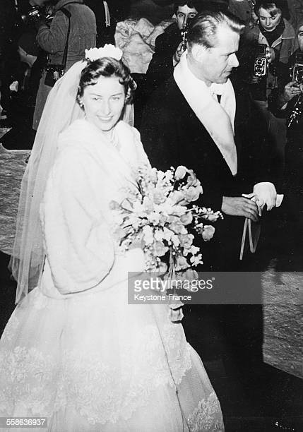 The bride Princess Astrid and her groom Johan Martin Ferner during the ceremony on January 12, 1961 in Asker, Norway.