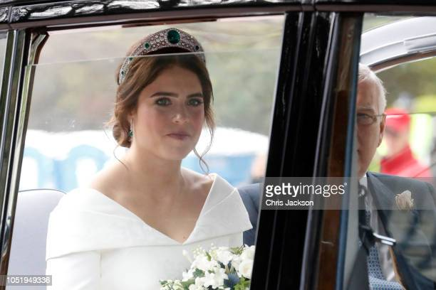 The bride Princess Eugenie of York arrives in her car for her Royal wedding to Mr Jack Brooksbank at St George's Chapel on October 12 2018 in Windsor...
