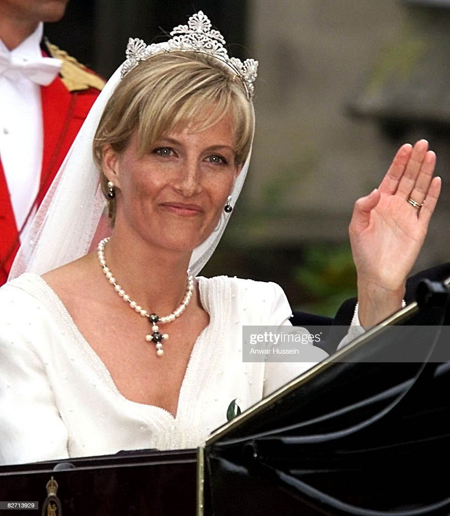 The bride, Sophie Rhys-Jones arrives for her wedding to Prince Edward on Saturday June 19, 1999.