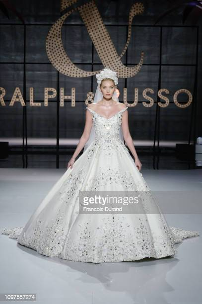 The bride walks the runway during the Ralph Russo Spring Summer 2019 show finale as part of Paris Fashion Week on January 21 2019 in Paris France